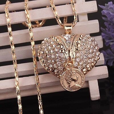 """Women Gold Filled Clear Austrian Crystal Pendant 30""""Dress Chain Necklace B793"""