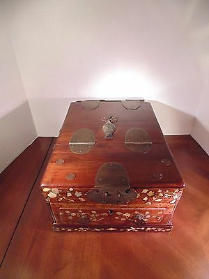 Antique Asian Style Wood Vanity Jewelry Box With Mirror- Mother of Pearl Inlay