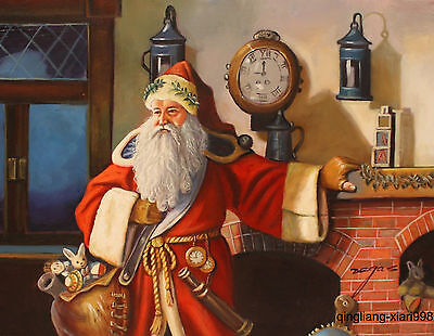 Art portrait oil painting:Santa Claus wait for knock ring New Year's Day bell