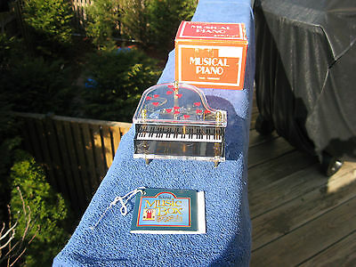 """Vintage Schmid Grand Piano Music Box Clear Plastic """"Tomorrow"""" New In Opened Box!"""