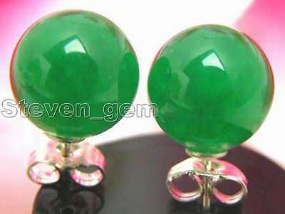 SALE Big 10mm Green Perfect Round Jade earring with 925 stud-ear129
