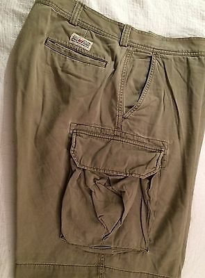 Mens Classic Ralph Lauren POLO CHINO CARGO SHORTS 36w Khaki. Tough Cotton