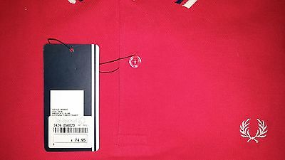 Fred Perry Red/Cream/Navy Small Slim Fit Authentic M1200 Polo Shirt NWT