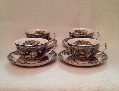 """Set Of 4 Johnson Brothers Friendly Village """" The Ice House"""" Tea Cups And Saucers"""
