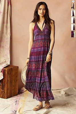 Anthropologie Rubus Maxi Dress By Weston Wear,  Raspberry-Hued Mesh Sz M