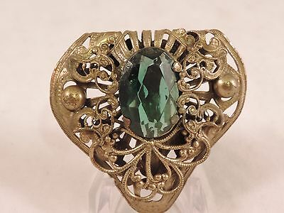Antique Vintage Art Nouveau Deco Victorian Dress Clip large green Center Stone