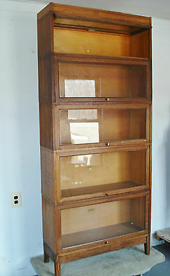 """ANTIQUE BARRISTER BOOKCASE 5 Stack Lawyer's Bookcase 77.5"""" MISSON OAK  NEEDS TLC"""