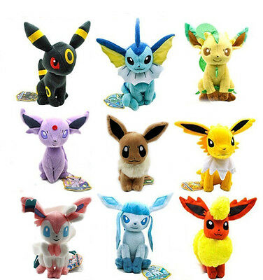 New Large 9pcs Pokemon Evolution of Eevee Plush doll Toy Eeveelution Kids Gifts