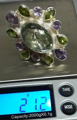 925 Solid Sterling Silver Ring with Green & Purple Amethysts and Peridots size 6