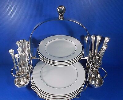Wallace Baroque Silver Plate Two-Tiered Buffet Server.  Holds Plates & Utensils.