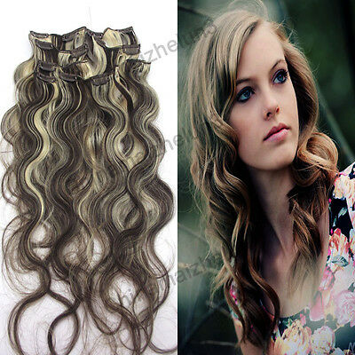 20inch 7pcs 70g Clip in Remy Real Human Hair Extensions Curly Wavy Mixed Color