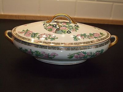 """Syracuse China Indian Tree Pink 12"""" Covered Vegetable Serving Dish Bowl"""