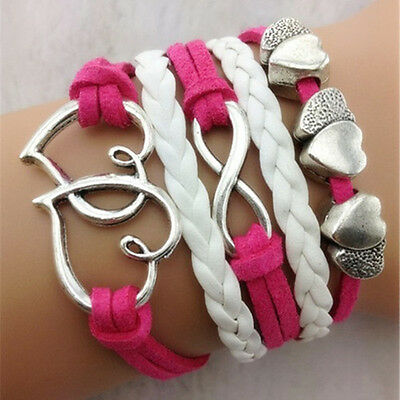 S069 NEW Charms Heart to heart Knit PU Leather Rope Chain Bracelet Gift