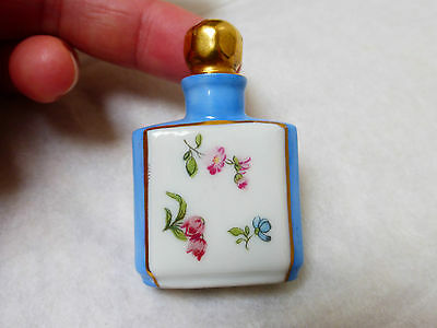 VINTAGE SMALL HAND PAINTED PORCELAIN 24KP PERFUME BOTTLE, MADE IN GERMANY