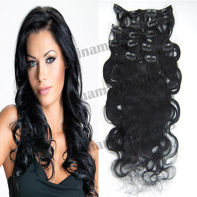 18 inch 7pcs 70g Black Clip in Remy Real Human Hair Extensions Curly Deep Wavy