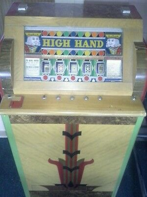 Ballys 1930s hold & draw poker payout slot excellent vintage antique coin op