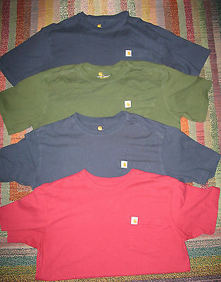 Lot of 4 Carhartt Short Sleeve Pocket Shirts 101125 Size L Excellent Condition