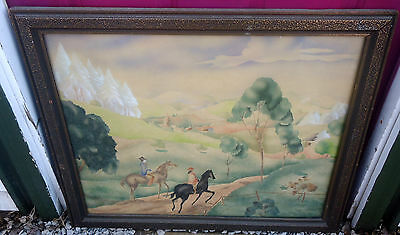 ANTIQUE SIGNED WATERCOLOR? HORSES/COUPLE SIGNED ALEX ? 25X28 MKD WHITMAN STUDIOS