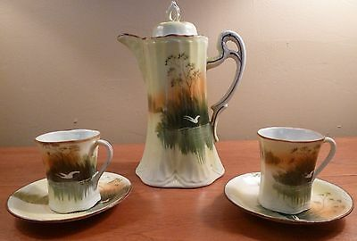 Lovely pale green marsh scene coffee, tea or chocolate pot with 2 cups & saucers