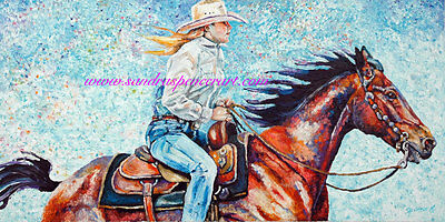 Original Oil Painting Cowgirl Horse Rodeo Art 18x36 BIG  Western Portrait