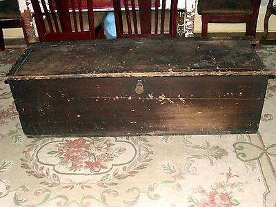 ANTIQUE PRIMITIVE EARLY AMERICAN BLANKET CHEST TRUNK OLD VINTAGE 1800'S OHIO