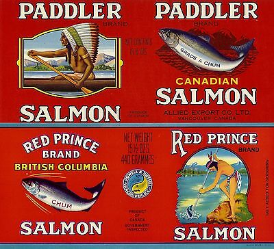 """RARE OLD ORIGINAL 1940'S """"PADDLER & RED PRINCE BRAND"""" LABELS VANCOUVER BC CANADA"""
