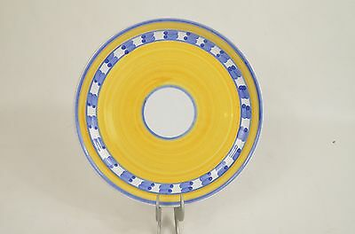 "CALECA // 8"" Yellow Blue White Salad PLATE / Hand Painted MADE IN ITALY"