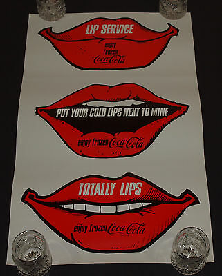 Vintage FROZEN Coca Cola Poster LIP SERVICE Advertising Never Used