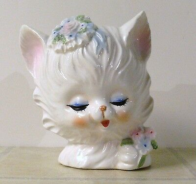 Vintage Napcoware White Cat Head Vase w/ Flowers Napco Ceramic Art Pottery Retro