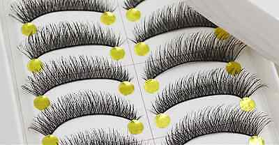 False Eyelashes 10 Pairs Black Fake Extension Natural Handmade Makeup Eye Lashes