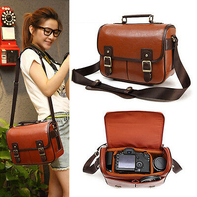 Vintage Mens Womens PU Leather Canvas Camera Shoulder Bag DSLR SLR Canon Nikon