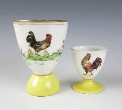 2 Antique Limoges EGG CUPS w/ HENS Chicks French Porcelain ROOSTER Chicken T&V