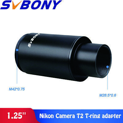 "SVBONY 1.25"" M42 Thread T-Mount Adapter +T2 Ring for Nikon DSLR/SLR Lens Adapter"