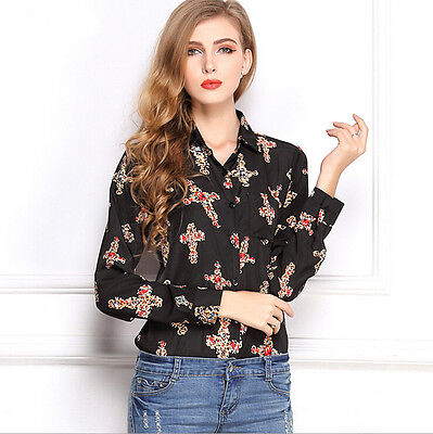 Sexy Women Loose Cross Long Sleeve Casual Shirt Top Blouse Black Spring Thin XL