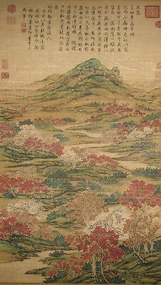 """CHINESE TAIBEI PRECIOU SCROLL PAINTING ANTIQUE""""SCENERY BEYOND GREAT WALL""""QING DY"""