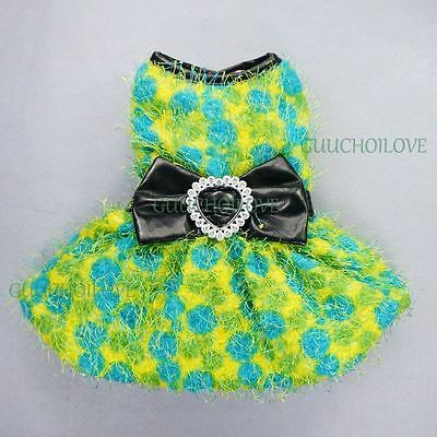 """13""""Chest Wedding Princess Dog Clothes Small Pet Dress Coat Winter Fuzzy Outfit"""
