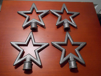 Lot of Antique Style Cast Iron Fence Top Toppers Finials Rustic Crafts Star F5