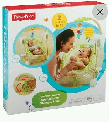 Fisher Price Spacesaver 2 in 1 Swing & Seat ~ Rainforest Friends Vibrates Music