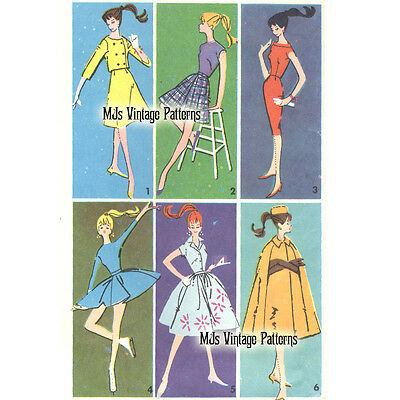 Vintage 60s Pattern for Barbie, Midge, Stacey, Christie, Tammy Doll Clothes