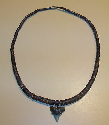 "Shark's Tooth Necklace, 18"", 3/4"" Tooth, Surfer Wear, From 1990, Brown"