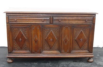 Antique Vintage SPANISH Style Carved Mahogany Two Drawer BUFFET Sideboard