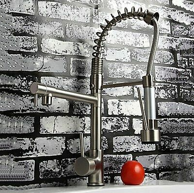 Pull Up and Down Spray Kitchen Sink Brass Mixer Tap Brushed Nickel Faucet RR15
