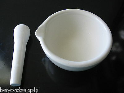 Lab porcelain  mortar and pestle kitchen pharmacy spice 160mm new