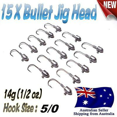 15X 14g (1/2 oz) Hook size 5/0 Like Fishing Bullet Jig Head Chemically Sharpened