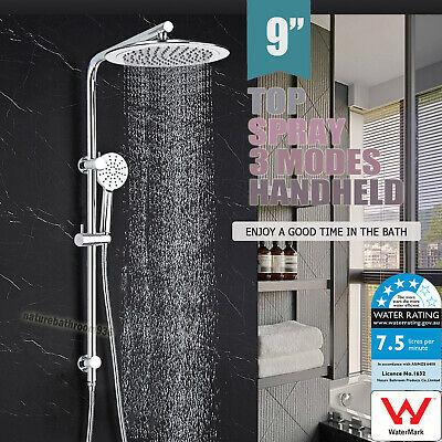 2 IN 1 Combo Rainfall 5 Massage Modes HandHeld Twin Shower Head Sliding Rail Set