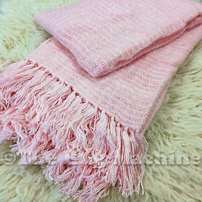 LUX LIGHT PINK PLUSH COZY LUXURIOUS SOFT THROW RUG BLANKET 130x180cm **NEW**