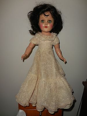 """VINTAGE TONI DOLL P-91 WITH FRILLY LONG DRESS AND BRUNETTE HAIR - 15"""" HIGH"""