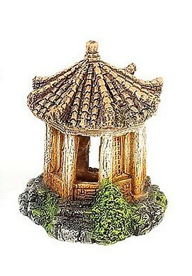 Gold Asian Temple Ruin Aquarium Fish Cave Ornament Chinese Japanese Decoration