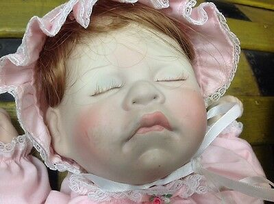 Lee Middleton Vintage Sleeping Doll With Baby Basket Signed Numbered 5275 1983