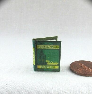 1:12 MINIATURE BOOK AROUND THE WORLD IN 80 DAYS JULES VERNE Illustrated BOOK